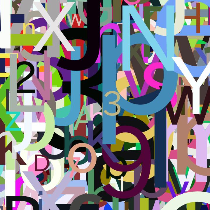 Canvas_Character Generator_(2019_01_09)_1.png ランダム文字描画プログラムで生成した文字アート画像。